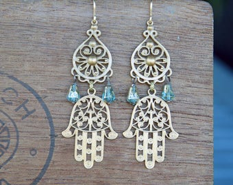 Filigree Chandelier Earrings with Filigree Hamsa Hand and Blue Glass Drops French Brass Antique Vintage Style
