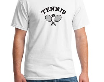 Tennis white T-shirt-Unisex t-shirt-tennis shirt-gift t-shirt-sports t-shirt-rackets and tennis ball t-shirt