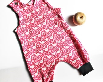 DUNGAREES, romper, all in one, baby dungarees, farmyard print, geese dungarees