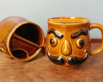 2 Vintage 70's Mustache Mugs // Brown Glaze Face Shaving Cup Set // 70s Kitchen Decor