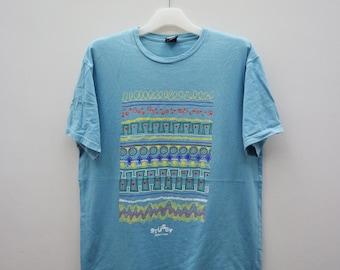 Vintage STUSSY World Tribe Blue Tee T Shirt Size L