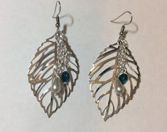 "Earrings ""Silver leaf and beads"""