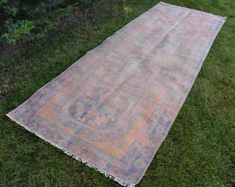 Pale Color Runner Area Rug Rare Color Handknotted Wool Runner Rug Vintage Turkish Rug Free Shipping 3.9 x 10.7 feet Oushak Runner Rug DC796