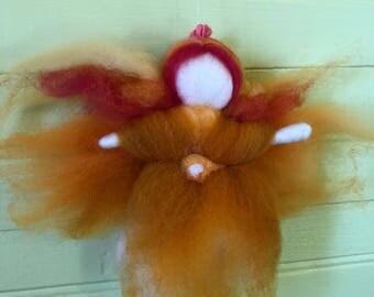 Felted Fairy, Wool fairy, Fairy Ornament, Orange felt fairy