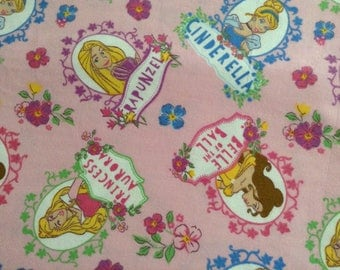 Flannel/Disney/Princesses on pink background cotton fabric by the yard