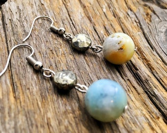 Amazonite and pyrite drop earring