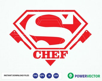 Super Chef T shirt, Apron Design Svg. Super Chef Vinyl Cut File for Silhouette and Cricut. Superhero Chef Svg, Eps, Dxf Cutting Files