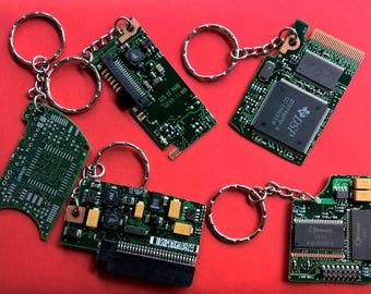 Keyring with chain - recycled Hard drive HDD, RAM, Circuit Board , unusual unique gift idea