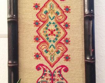 LARGE Vintage Crewel, Huge Multicolor Hippie Retro Paisley Design, Faux Bamboo Frame,  Boho Decor, 54x12.5 // SALE