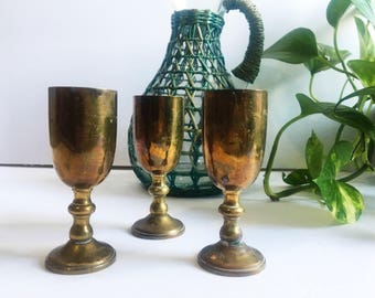 Vintage Brass Shot Glasses, Set of 3