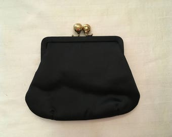 MM Black Satin Clutch