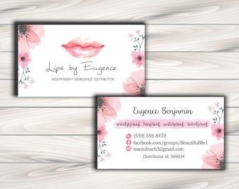 LipSense Business Card, SeneGence business card - 3.5x2 - Flora