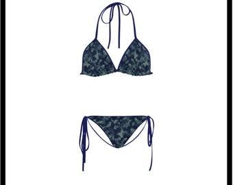 Blue Camo Classic String Bikini