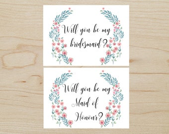 Bridesmaid & Maid of Honour Proposal Cards