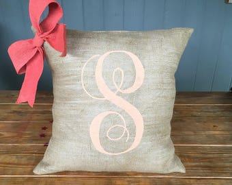 Bow Pillow, Burlap Pillow, Personalized Pillow, Throw Pillow, Accent Pillow, Decorative Pillow, Rustic Pillow, Home Decor, Pillow Cover
