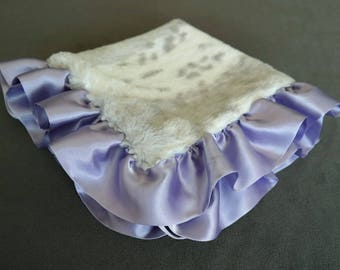 Silver Snow Leopard Security Blanket with Satin Ruffle in Lavender