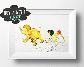 Mowgli Printable Art Print Poster, Jungle Book Wall Art Nursery Decor, Watercolor Instant Download, Boys Nursery Decor