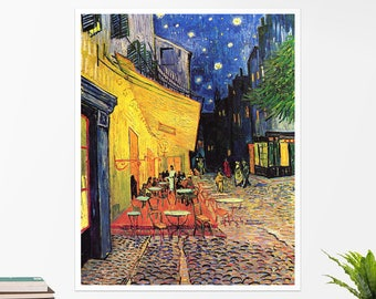 "Vincent Van Gogh, ""Cafe Terrace at Night"". Art poster, art print, rolled canvas, art canvas, wall art, wall decor"