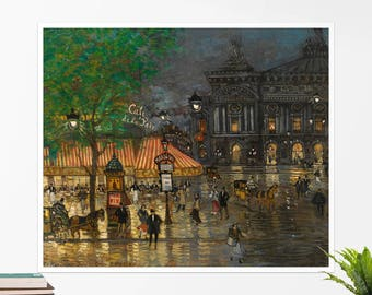"Konstantin Korovin, ""Place de l'Opera, Paris"". Art poster, art print, rolled canvas, art canvas, wall art, wall decor"