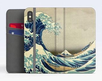 "Katsushika Hokusai, ""The Great Wave off Kanagawa"". iPhone X Wallet case iPhone 8 Wallet case  iPhone 7 Plus Wallet case Samsung Wallet cases"