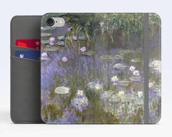 "Claude Monet, ""Water Lilies"". iPhone 8 Wallet case, iPhone 7 Wallet case  iPhone 6 Plus Wallet case. Samsung Wallet cases."