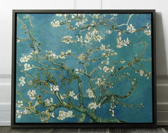 "Van Gogh ""Blossoming Almond Tree"" Framed Art Print on CanvasVincent Van Gogh Fine Art on Canvas in a Frame - Ready to Hang. (FC-VVG-02)"