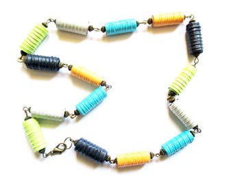 ethnic bohemian necklace multicolored paper rolls and bronze beads, metal R62