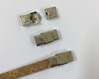 3units for 10*3mm Flat/round leather stainless steel clasp, Antique Silver jewelry supplies jewelry finding D-6-112