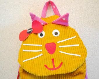 "Backpack girl ""mustard yellow cat"""