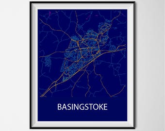 Basingstoke Map Poster Print - Night