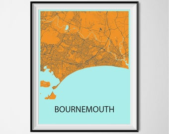 Bournemouth Map Poster Print - Orange and Blue