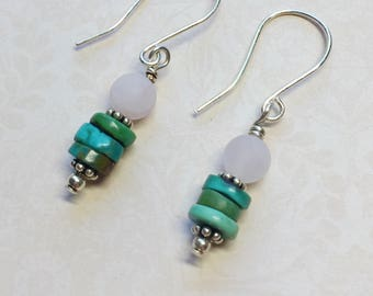 Turquoise & Rose Quartz Sterling Earrings stacked Arizona turquoise gemstone silver Frosted Pink Rose quartz Bali silver green blue heishi
