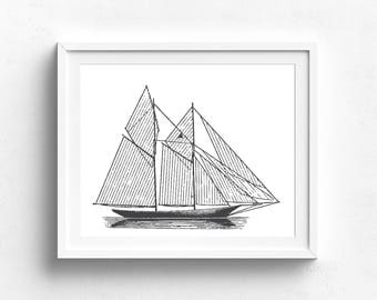 Grand Opening Sale! - Sailboat Print, Black and White Poster, Coastal Art, Boat Art