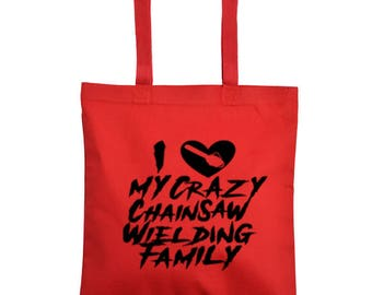 Chainsaw Family Crazy Valentine's Day Horror Canvas Tote Bag Market Pouch Grocery Reusable Halloween Merch Massacre Black Friday Christmas