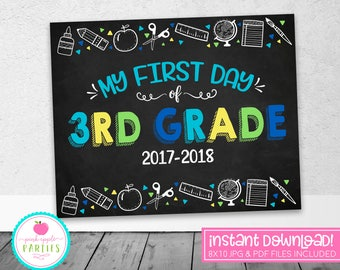 First Day of 3rd Grade Chalkboard Sign -First Day Sign - Blue, Green, Yellow, Turquoise - 8x10 Instant Download Printable Sign