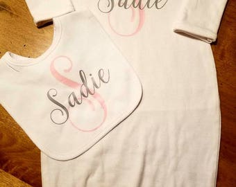 Sweet Baby Gown and Bib set