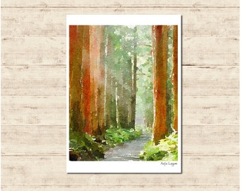 Forest Watercolour Painting Postcard Poster Art Print Q74