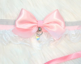 BDSM/DDLG/Kitten Play Grey and Pink Ruffle Lace Collar with Heart Crystal