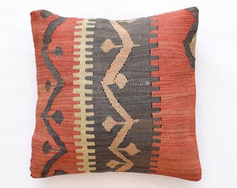 "Kilim rug pillow cover 18""x18"" (45x45cm) 010"