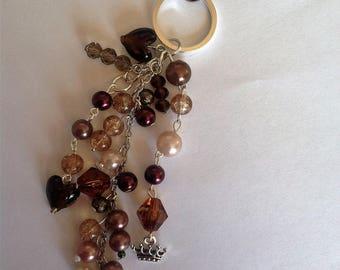 Brown beaded key ring key chain key fob bag charm handbag charm