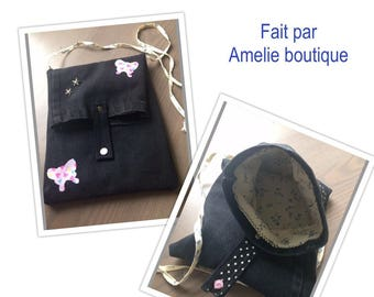 Black strap and butterflies design jeans bag