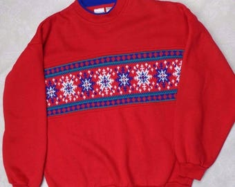 Vintage red snowflake sweatshirt Ugly Sweater Christmas S SM M26