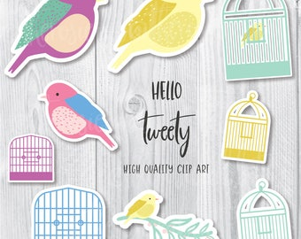 Birds and Birdcages Clip art, Bird Clip Art, Birdcages clip art, Cute Bird Clip art, Bird Illustration