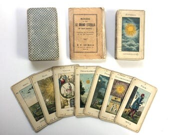 c.1940s Tarot Deck 78 Cards VTG Egyptien Grand Etteilla B.P. Grimaud w/ Booklet