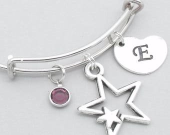 Double star heart initial charm bracelet | star jewelry | star bangle | personalised star gift | birthstone