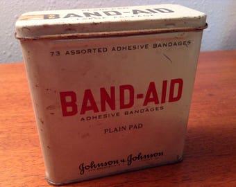 Vintage Band-Aid Adhesive Bandages Tin box Johnson & Johnson