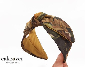 Headband-Brown & Flowers