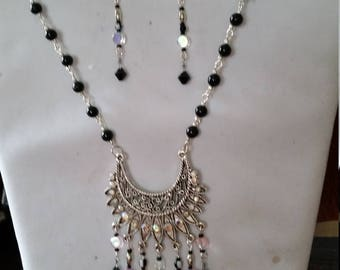 20 in sterling silver and black crystal necklace with matching earings