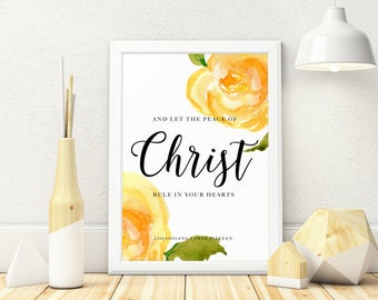 Colossians 3:15 Digital Download, Bible Verse, Watercolour Florals,