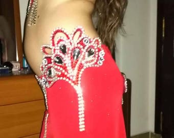 Egyptian professional Red Jewel belly dance costume